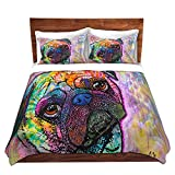 DiaNoche Designs Dean Russo-Pug Love Dog Brushed Twill Home Decor Bedding Cover, 6 Twin Duvet Sham Set