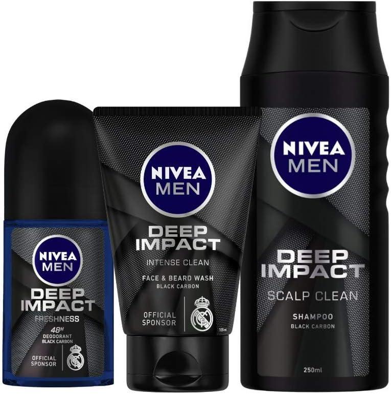 Nivea Deep Impact Roll On, 50ml and Face Wash, 100ml with Shampoo, 250ml