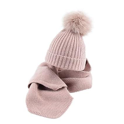 zyyaxky Cappello per Bambini Sciarpa Due Pezzi Ragazza Autunno E Inverno  Femminile Cappello di Lana Bambino 88b2a9723236