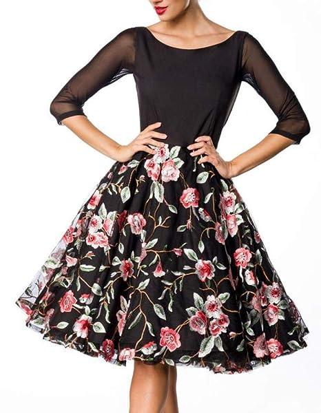 ccd5a38e2b31 Belsira Premium Embroidered Vintage Swing Dress Short Dress Black-Pink   Amazon.co.uk  Clothing