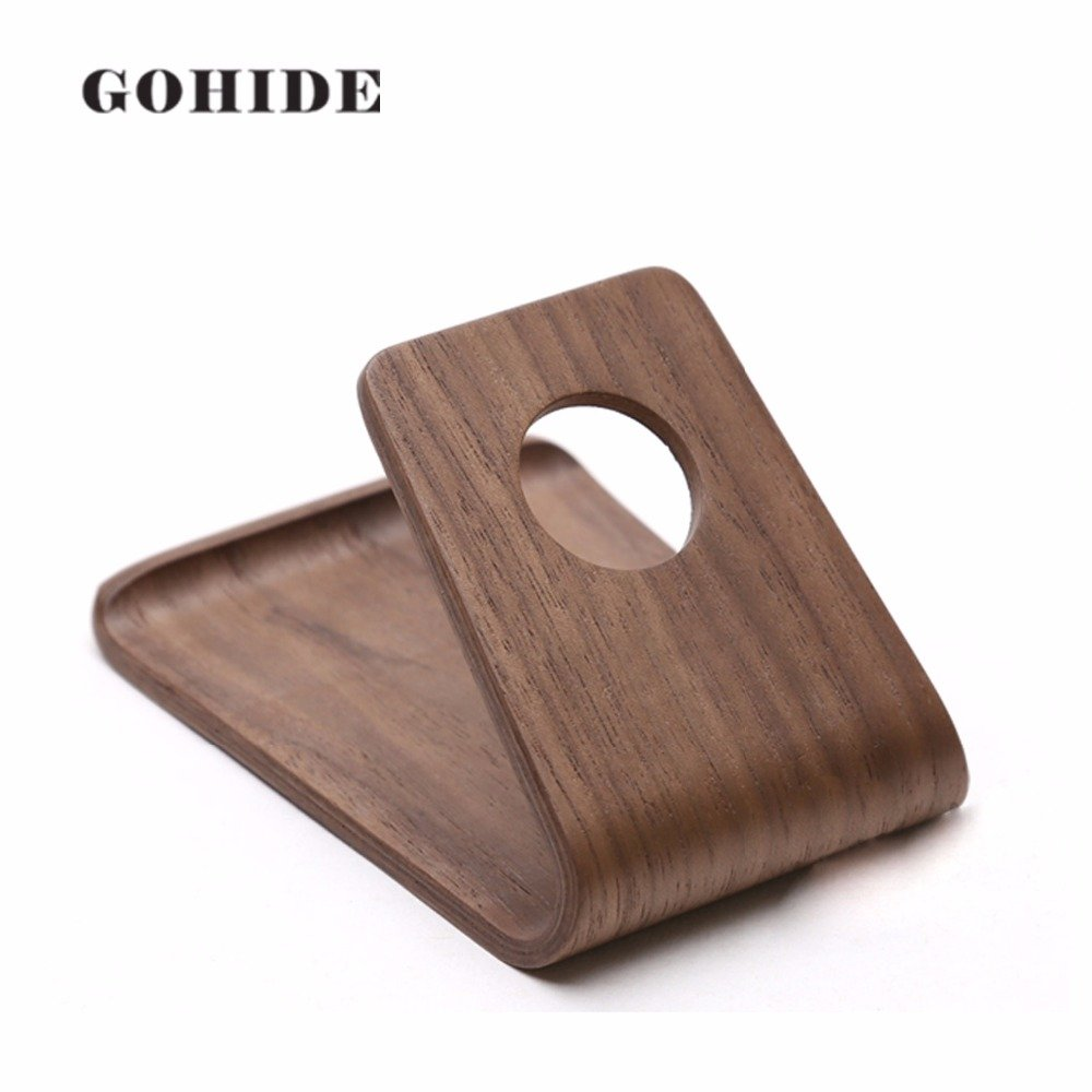 A Gohide Natural Wood Portable Wooden Cell Phone Stand, Wooden Smartphone Holder In Handmade Easy to use Fit for all Standard Cell phone(Width over 6.2cm), L:9.9cm W:7.4cm H:5.7cm (WALHUT WOOD) XCX