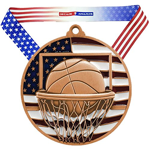 (Decade Awards Basketball Patriotic Medal – Bronze | Red, White and Blue Hoops Award | Includes Stars and Stripes American Flag V Neck Ribbon | 2.75 Inch Wide)