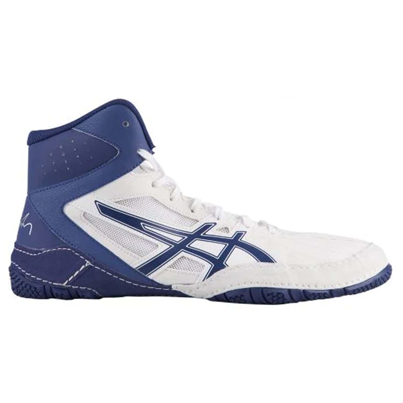 ASICS Cael V8.0 Men's Wrestling Shoes, White/Indigo Blue, Size 8