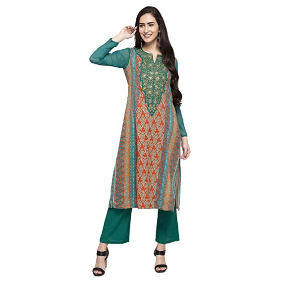 d345628e8cc02 Imara Womens Round Neck Printed Palazzo Pants And Kurta Set: Amazon.in:  Clothing & Accessories