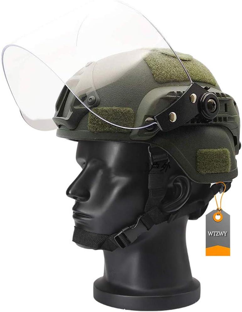 WTZWY Casco táctico Airsoft Mich 2000 Military Paintball SWAT Casco de policía con Visera antidisturbios Transparente Protector Facial Gafas deslizantes y riel Lateral Montaje NVG