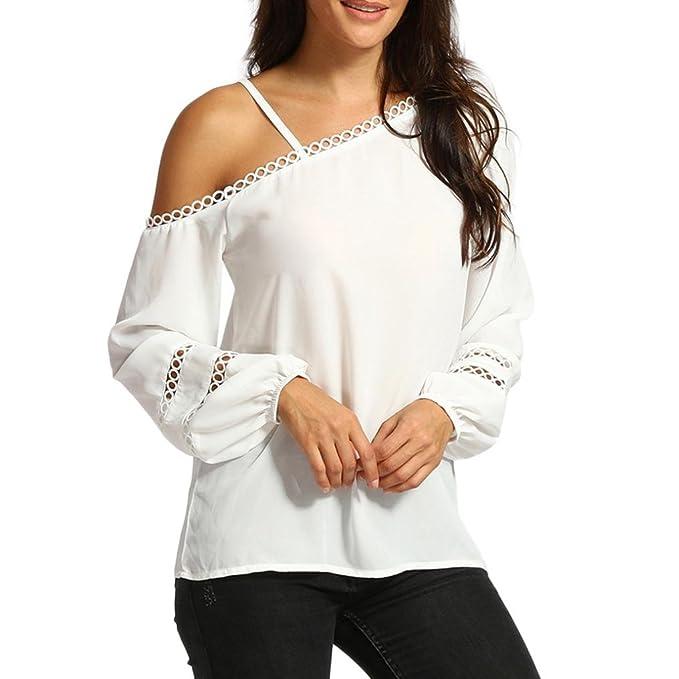 DOGZI Ropa De Mujer Camisa de Mujer Blusa de Verano de Mujer Camiseta con Hombros Descubiertos