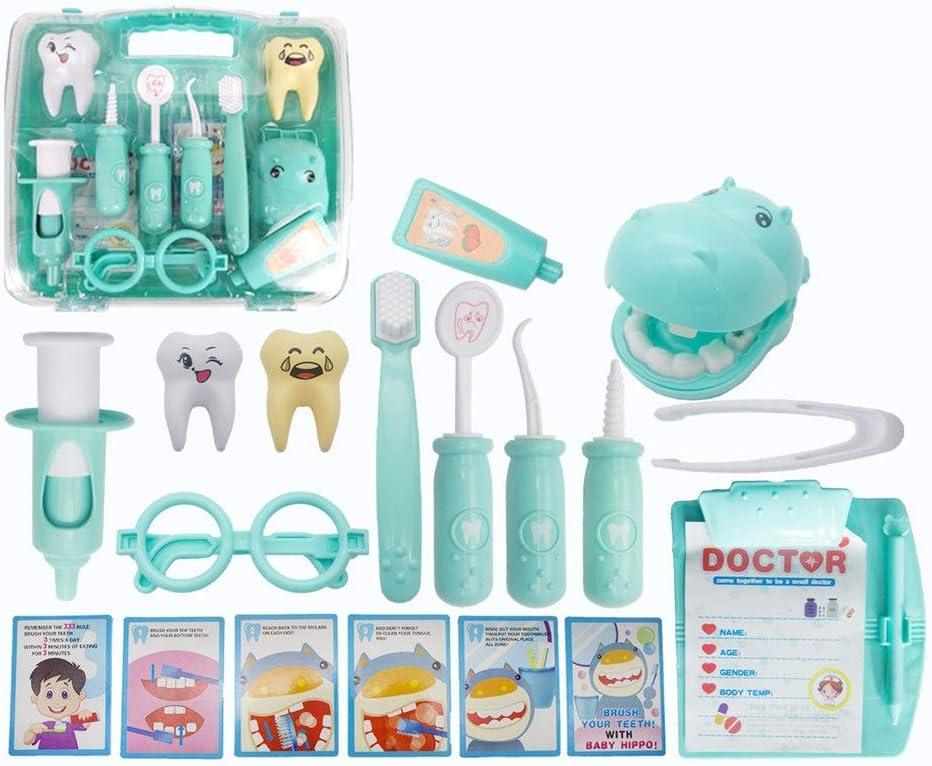 Oipoodde Médico de cabecera Juguete Infantil Simulación Play House Doctor Nurse dentición Juguete for niños Enseñanza Box Set Los médicos Kit (Color : Blue, Size : 22x16.5x15cm)