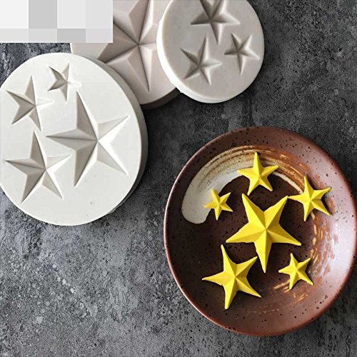 Fimo Star (Stars Shape Silicone Mold Gumpaste Chocolate Fimo Clay Candy Molds Fondant Cake Decorating Tools DIY)