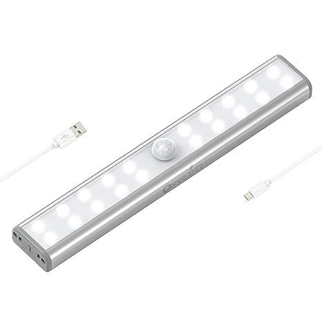 OxyLED Luces de armario con sensor de movimiento, barra de luz USB recargable con banda