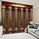 Newrara 3D Luxury Roman Columns Printed European Style Thick Polyester Blackout Curtains For Living Room&Bedroom,Free Hook Included (118''W106''L, Color1)