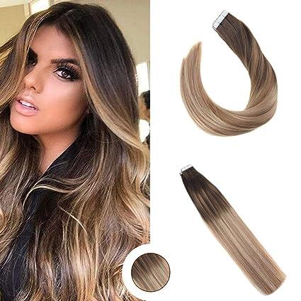 Ugeat 16 Pulgada/60cm Tape Weft Hair Extensions de Cabello Natural Rubio Adhesivas para Extensiones