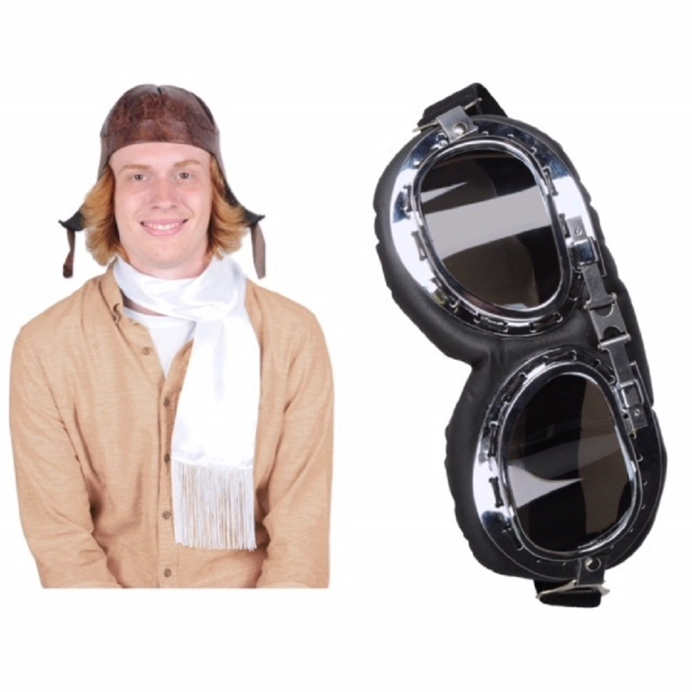 Bstl Co Aviator Hat, Scarf, and Goggles Set. One Size Fits Most