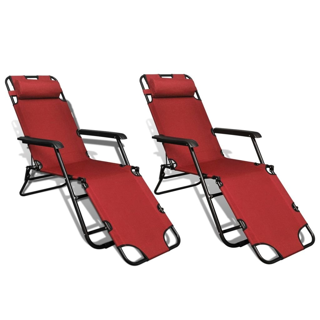 Daonanba Foldable Sun Lounger Set Outdoor Chaise Chair Comfortable Relaxing Lounge Chair with Footrest Adjustable Red