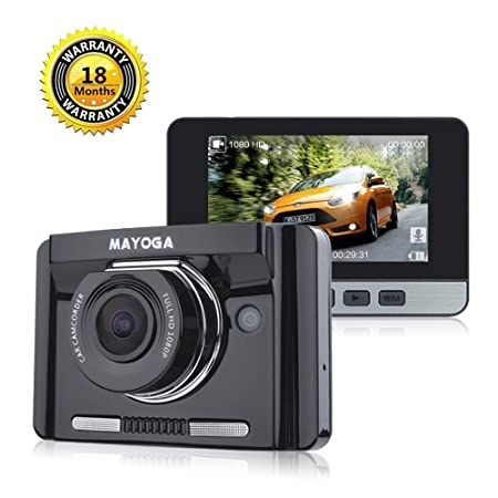 MAYOGA Car Dash Cam FHD 1080P Car DVR Video Recorder 170 Degree Wide-angle Dashboard Driving Camera with 2.7 TFT LCD GPS G-sensor Night Vision WDR Loop Recording Parking Monitor Motion Detection HDMI