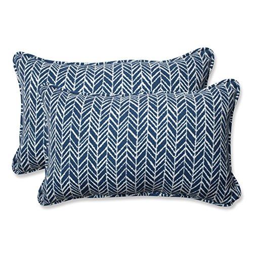 Pillow Perfect Outdoor | Indoor Herringbone Ink Blue Rectangular Throw Pillow (Set, 2 Piece