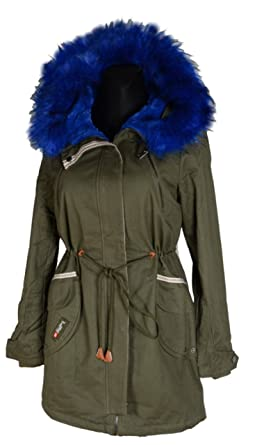 WINTER PARKA FELL WARM GEFÜTTERT JACKE MANTEL KAPUZE 36 38 40 42 44 46 S M L XL