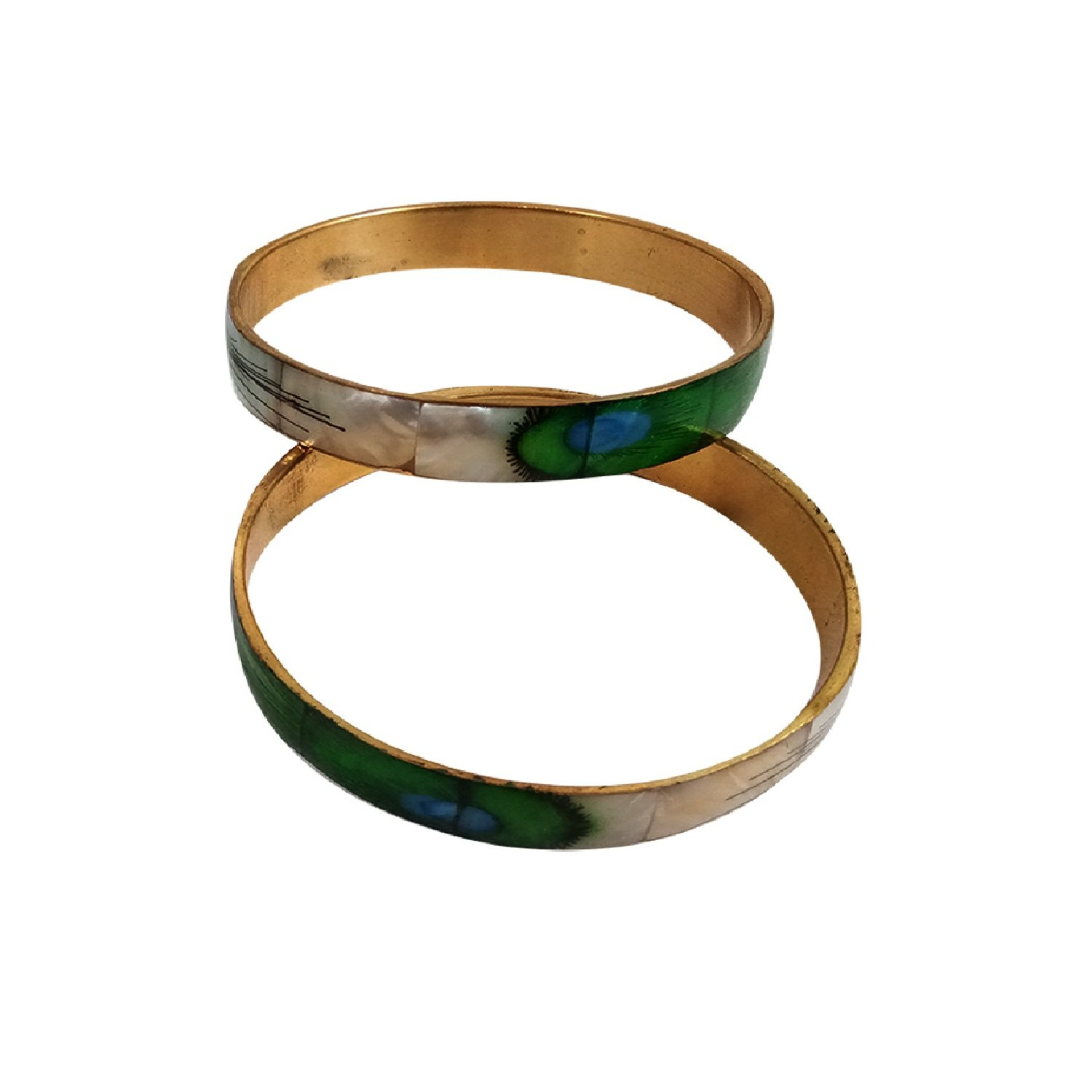 College Handmade Seashells Craft Fashion Bangles Set of 2 Antique Style Wearing in Party Casual and Your Daily Life