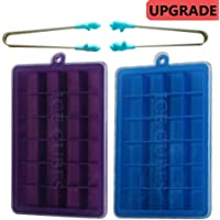 Auxin,Ice-Cube Tray Mold Silicone [24-Cell],Easy Release and Flexible ice-pop Mould for Candy and Chocolate Biscuits, Easy Release Durable and Dishwasher Safe, 2*Ice Clamps+2*Ice-Cube(Blue & Purple)