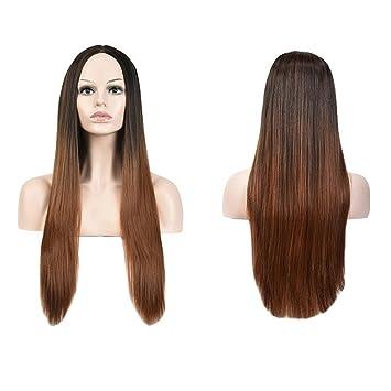 Meylee Pelucas Natural buscando rayita negra gris degradado larga recta pelucas Cosplay