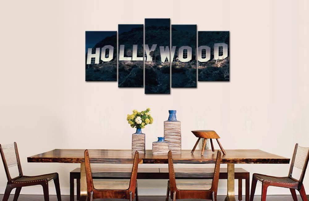 Amazon.com: So Crazy Art 5 Piece Wall Art Painting Hollywood Sign In  Mountain Prints On Canvas The Picture City Pictures Oil For Home Modern  Decoration ...
