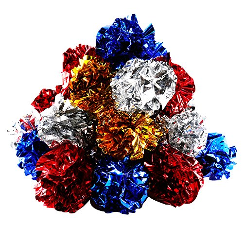 YGDZ 20 Pack Cat Crinkle Balls, Mylar Crinkle Balls Cat Toys, Shiny & Stress Buster Toy, Interesting Crinkly Sounds ()
