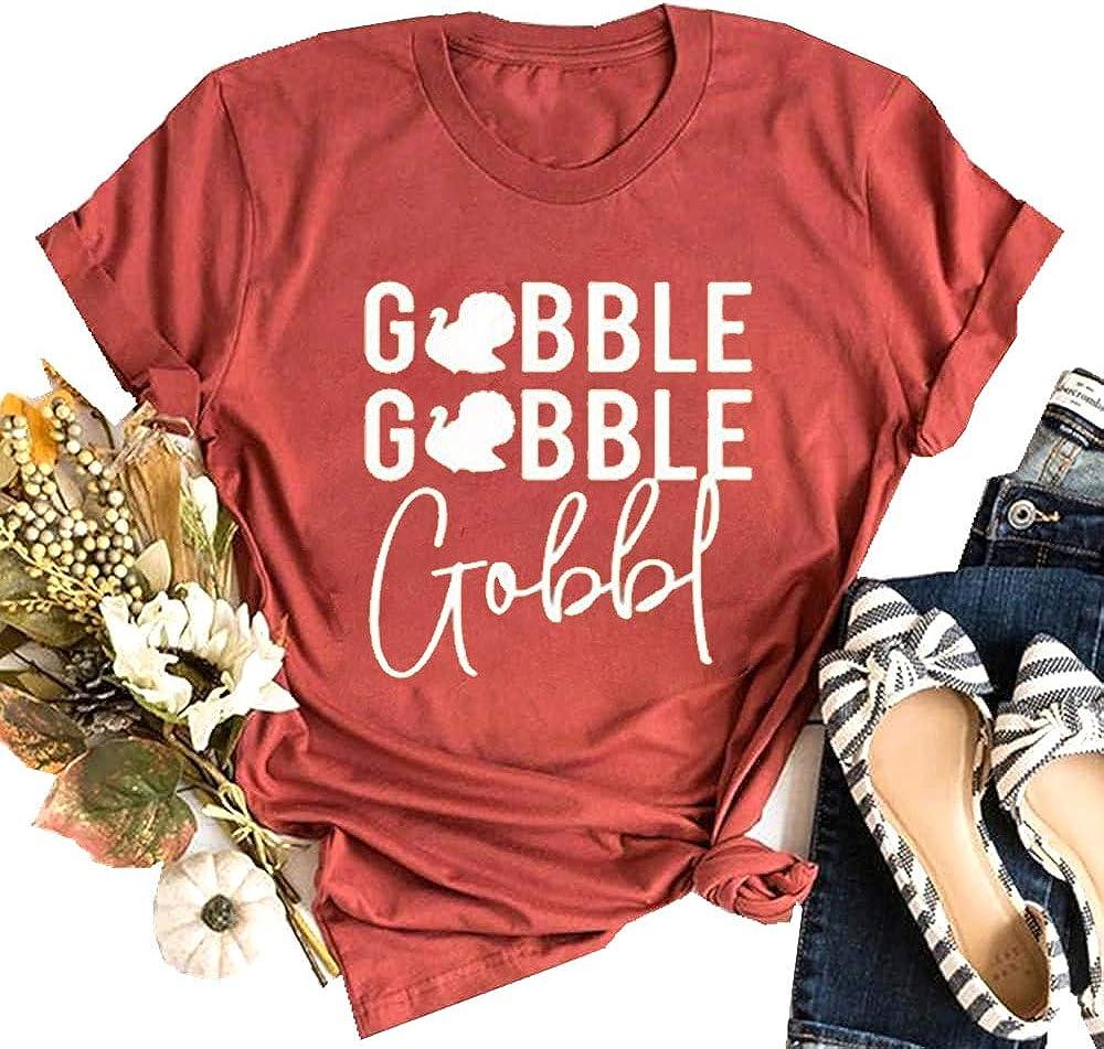 Gobble Gobble Shirt for Women Thanksgiving Short Sleeve Turkey Graphic Casual Tee Tops