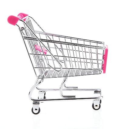 jeephuer Creative Mini carrito de la compra carro de supermercado carrito con ruedas Asiento (Rosy
