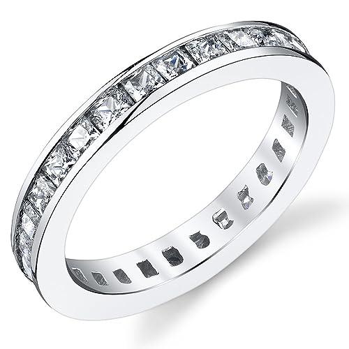 3MM Damen Sterling Silber 925 Verlobungsring,Ehering Mit Prinzessin Schnitt Zirkonia Bequemlichkeit Passen,Größe 47 to 64.5