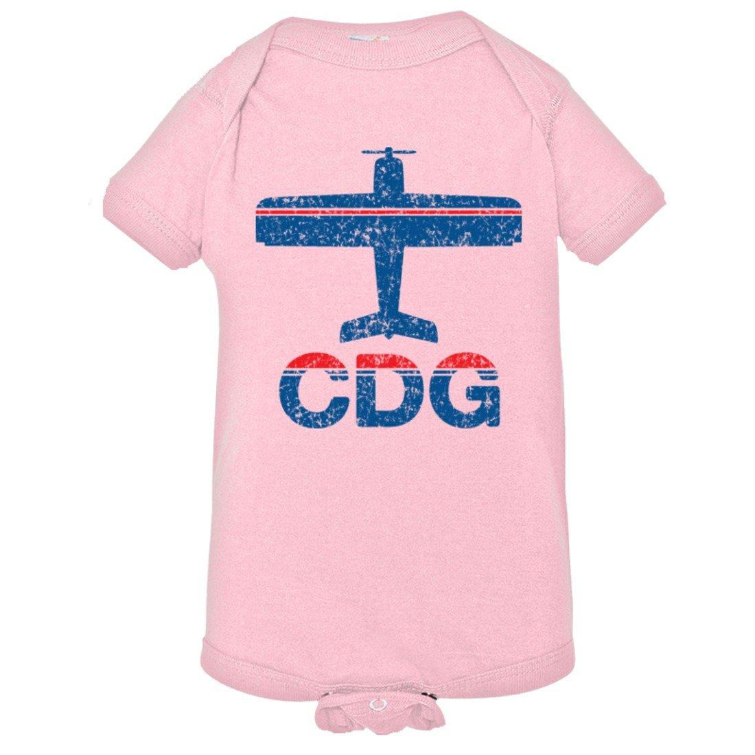 Baby Vintage Airplane Airport Fly CDG Paris HQ Bodysuit 1-Piece