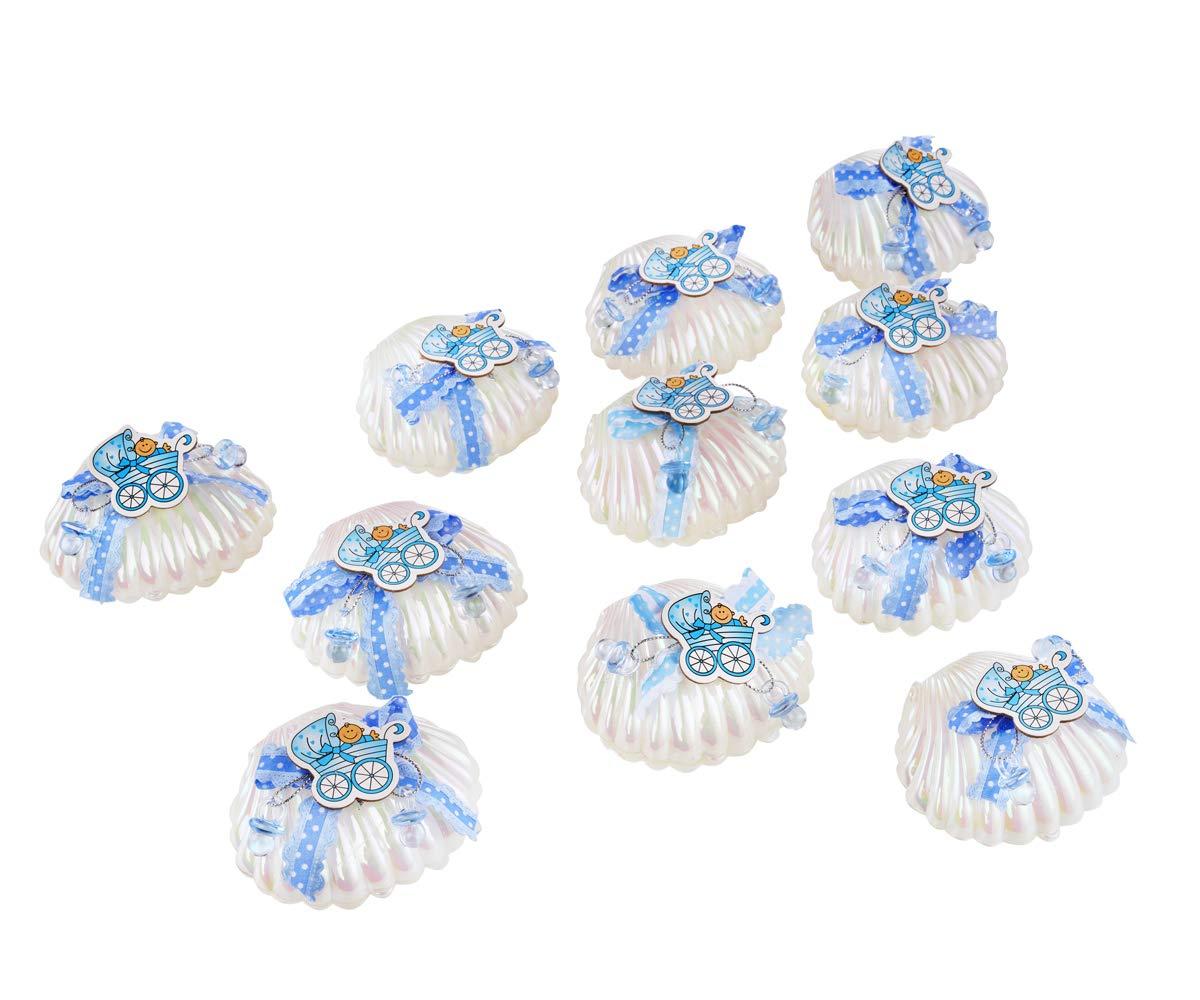 Qilicz 12pc Seashell Bo/îte cadeau drag/ées bapt/ême b/éb/é Candy b/éb/é Coque Candy Box Boy avec mini Deco B/éb/és pour gar/çons de douche de b/éb/é f/ête bapt/ême Cadeau Lot