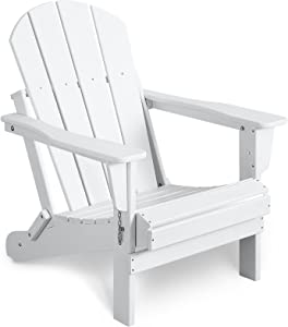 Bacswihom Folding Adirondack Chair Outdoor, Weather Resistant Patio Chairs for Garden, Deck, Backyard, Lawn Furniture, Easy Maintenance & Classic Adirondack Chairs Design, White