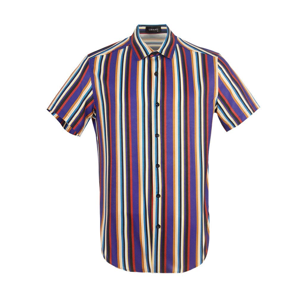 UPAAN Men Striped Vertical Color Printed Shirts Short Sleeve Button Down Casual Hawaiian Slim Fit Shirt Purple by UPAAN