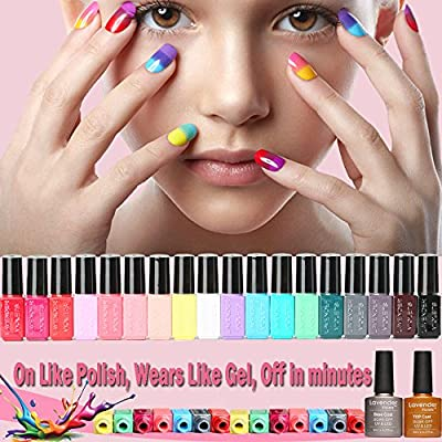 20 PCS Soak Off UV Led Gel Nail Polish Plain Range - 18 Color Coat n No Wipe Base and Top Coat Starter Gel Nail Kit F997