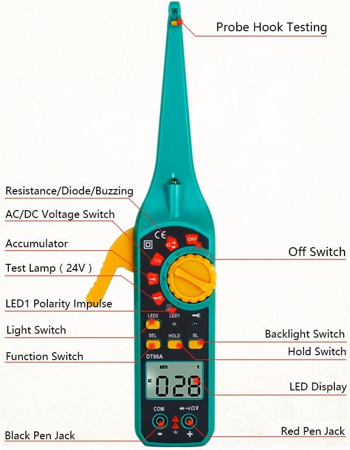 Protech dt86 a multifunci/ón pantalla LCD mult/ímetro digital Comprobador de circuito de autom/óvil coche Instrumento de detector de circuito Tester con resistencia de diodo de se/ñal de AC//DC Voltaje Zumbador Luz LED amarillo//azul
