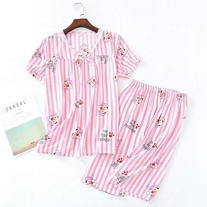 STJDM Bata de Noche,Summer Cool Rayon Fresh Pijamas Establece Mujeres Ropa de Dormir Pantalones Cortos Simples Casual Homewear Pijamas japoneses para ...
