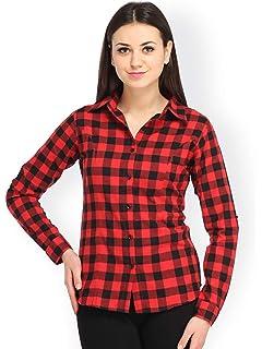 ecee64cb6967c0 C.Cozami Women's Casual Checkered Red/Black/Maroon/Blue/White Shirt ...