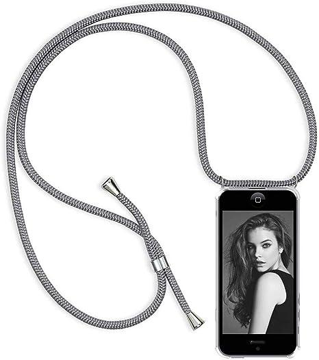 Anti-rasgu/ños Suave Silicona Transparente TPU Carcasa de movil con Cadena Negro Moda y Practico YuhooTech Funda con Cuerda para iPhone 8 Plus, Anti-Choque