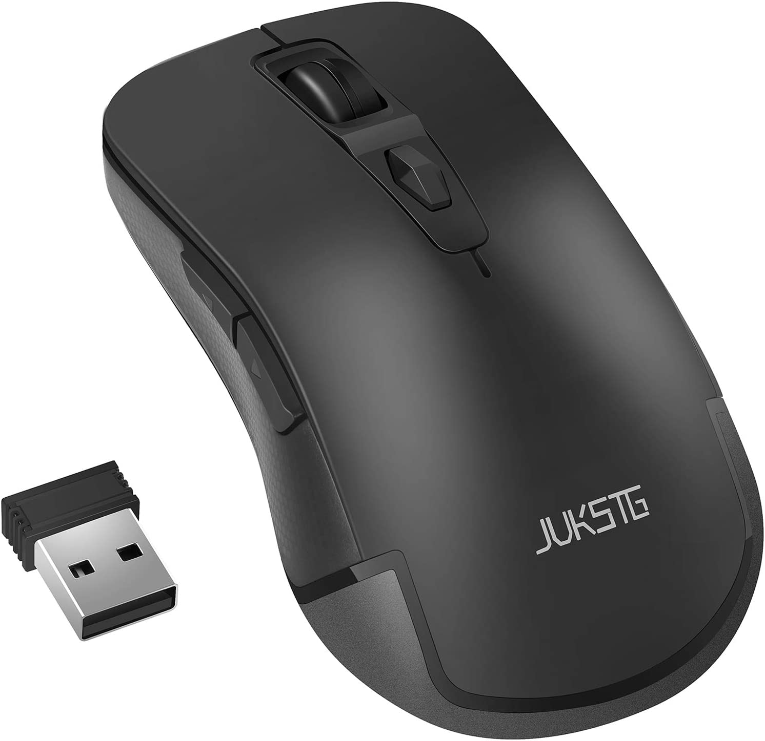 JUKSTG Wireless Mouse 2.4G Portable Ergonomic Mouse with USB Nano Receiver, 3 Adjustable DPI Levels, 6 Buttons for PC, Notebook, Laptop, Black