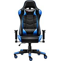 JL Comfurni Gaming Chair Chesterfield Ergonomic Swivel Home Office Nap Chair Computer Desk Chair PU Leather Recliner Sport Racing Chair with Adjustable Lumbar and Foootrest
