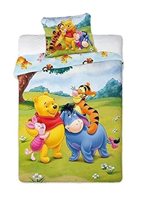 Parure de lit Winnie l\'ourson pour enfant - Multicolore - 100 x 135 cm pour  la housse de couette et 40 x 60 cm pour la taie d\'oreiller