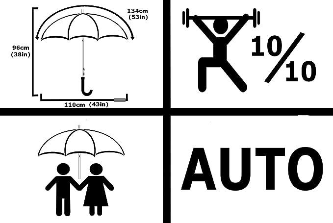 95KPH Parapluie Canne COLLAR AND CUFFS LONDON TR/ÈS Robuste Cadre Renforc/é avec Fibre de Verre en Jaune pour 1 ou 2 Personnes Noir Poign/ée Antid/érapante Automatique