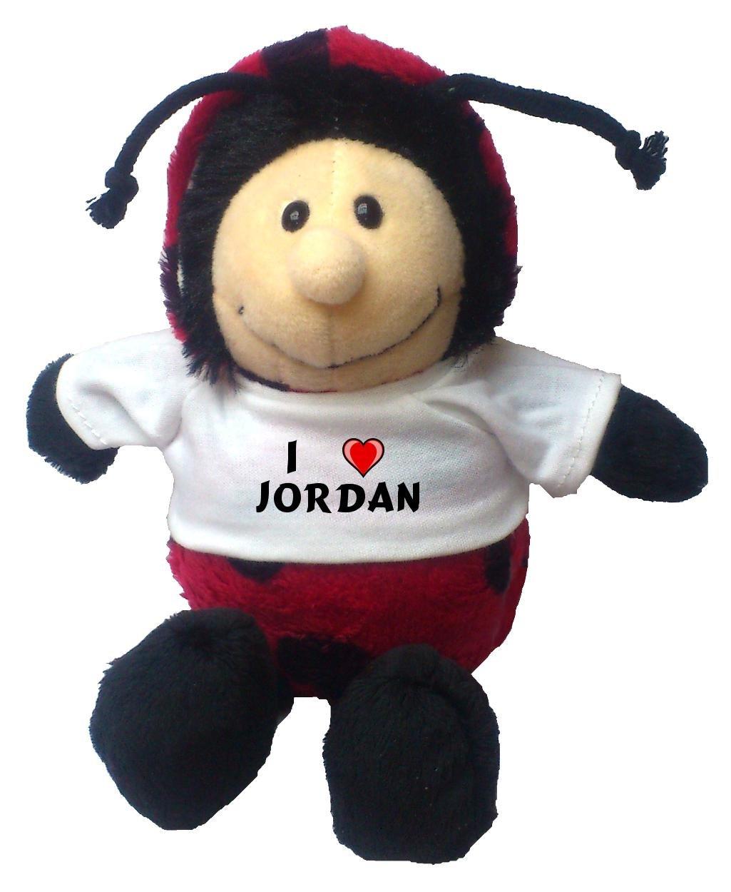 Mariquita de peluche con Amo Jordan en la camiseta: Amazon.es: Juguetes y juegos