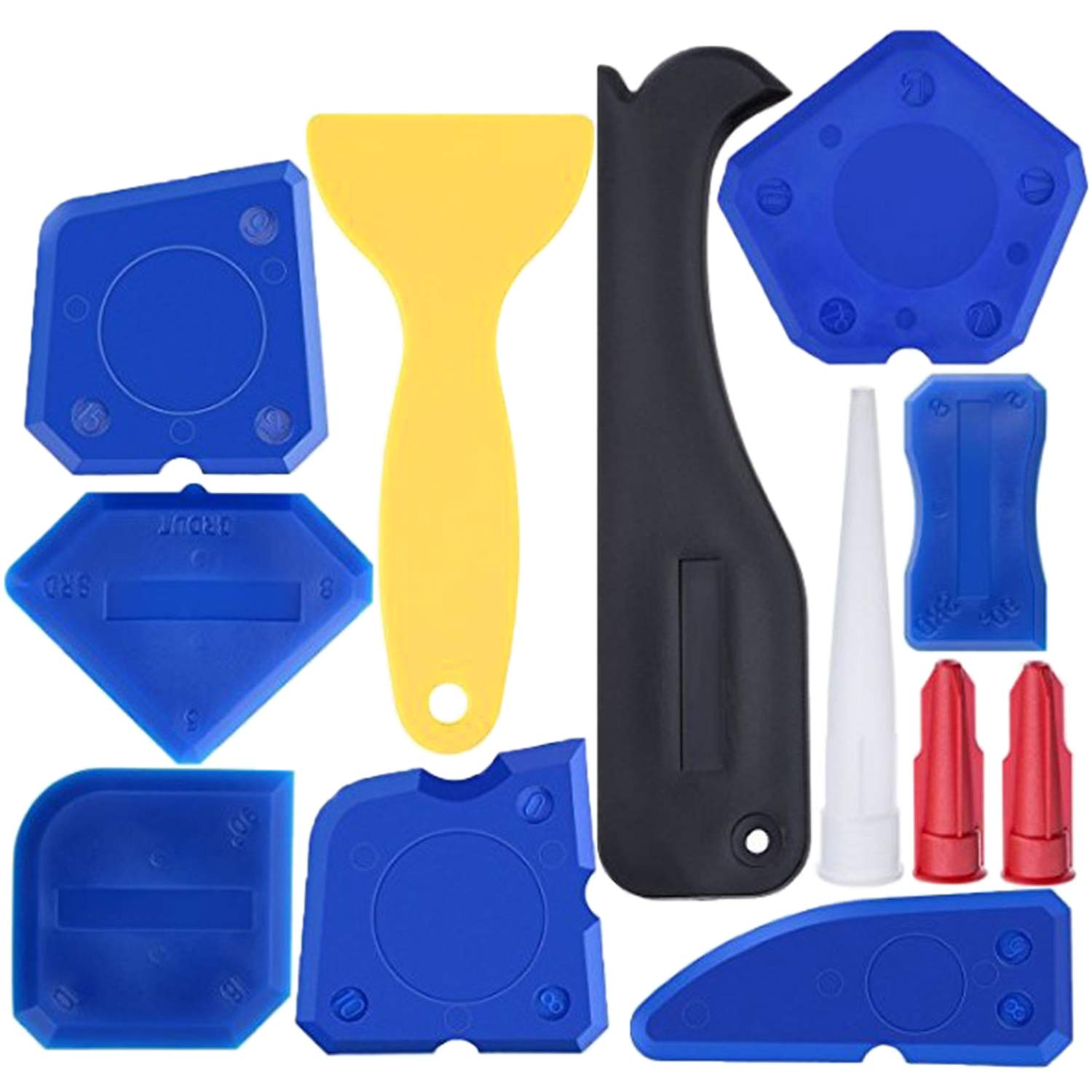 Caulking Tool Kit Hotetey 12 Pieces Silicone Sealant Finishing Removal Tool for Bathroom Kitchen Room Sealing