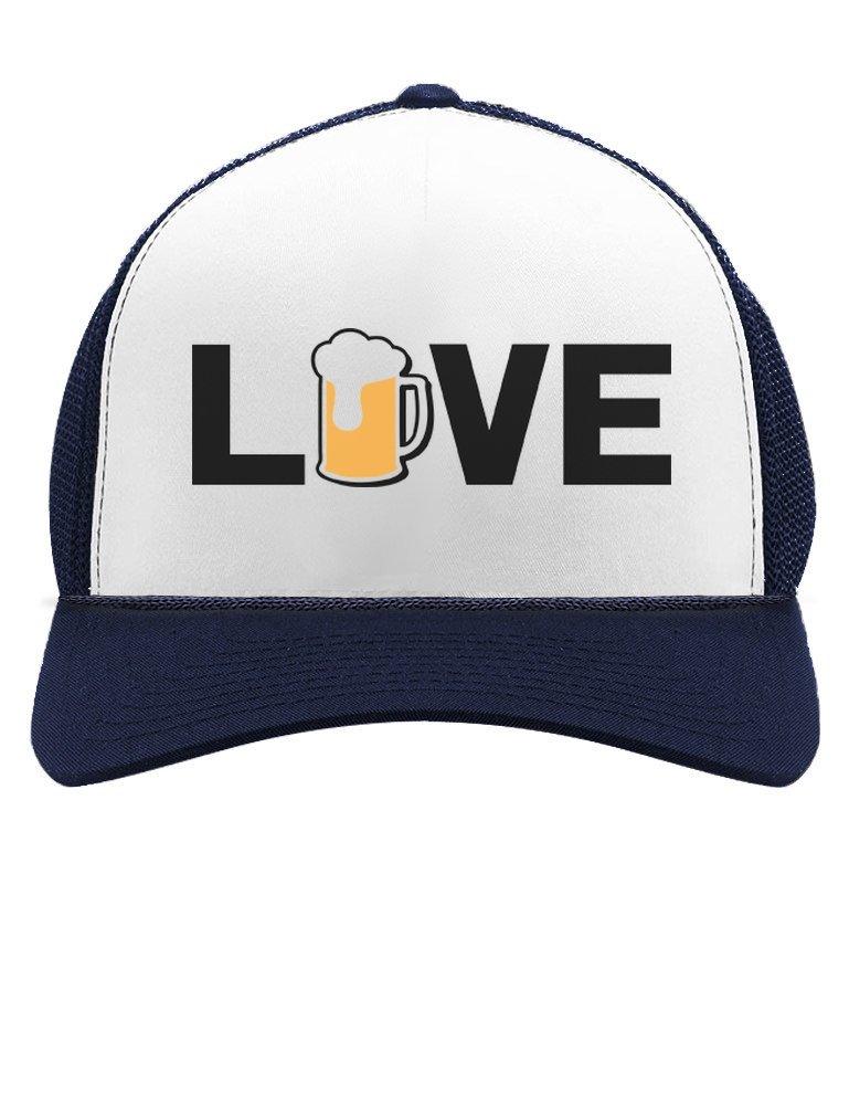 Tstars I Love Beer - Gift for Beer Lovers/Drinkers Cool Trucker Hat Mesh Cap One Size Navy/White