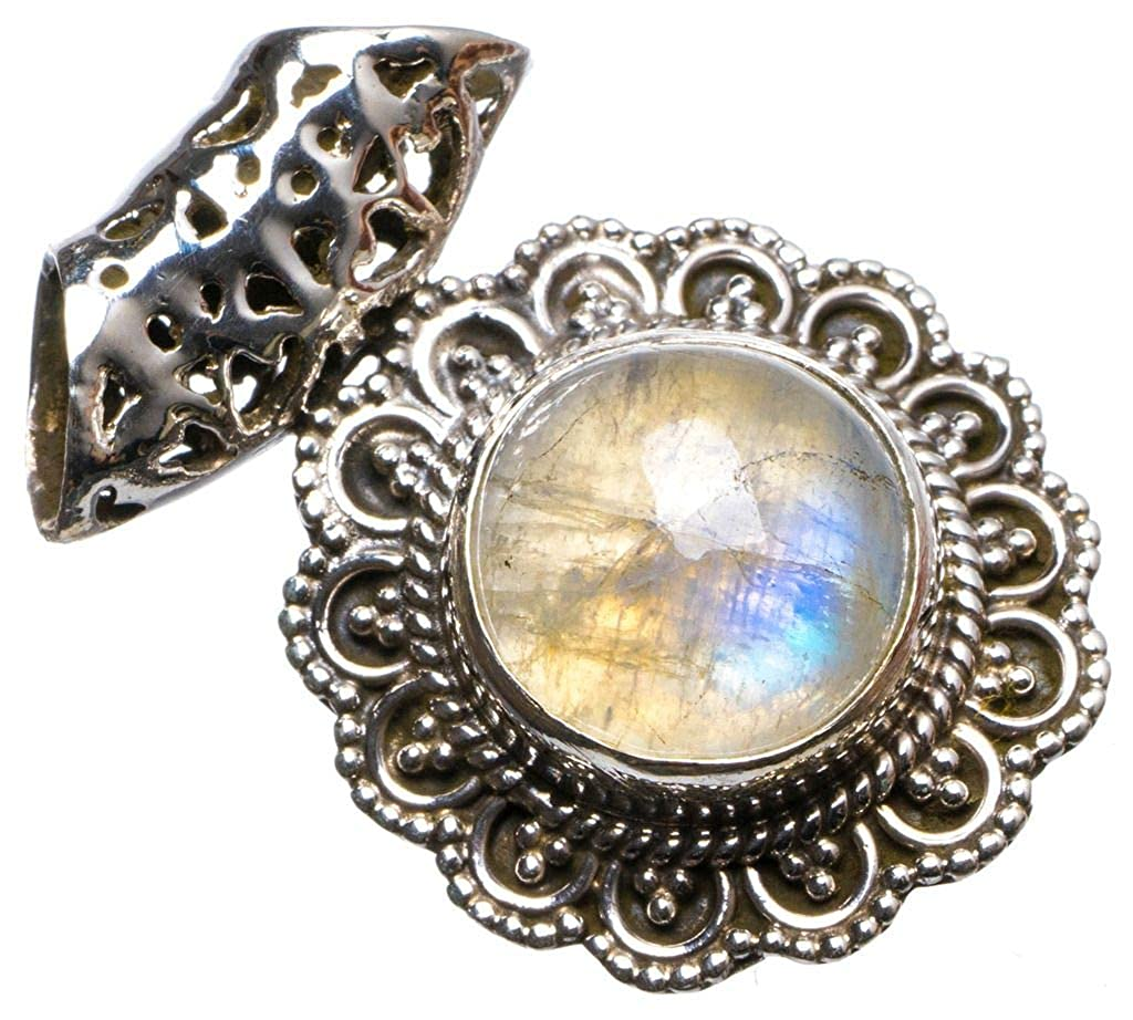 Natural Rainbow Moonstone Handmade Unique 925 Sterling Silver Pendant 1.25 X1286