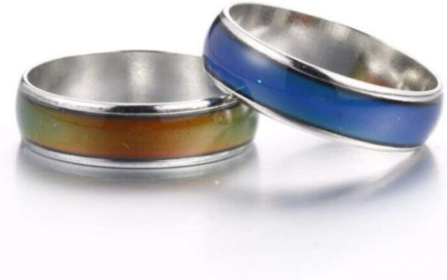 ZGHYBD Colour Changing Mood Ring Jewellery Temperature Stainless Steel Fashion,Stainless Steel Magic Mood Ring Temperature Changing Color Emotion Feeling Rings for Women Men Couple Ring Jewelry 20mm