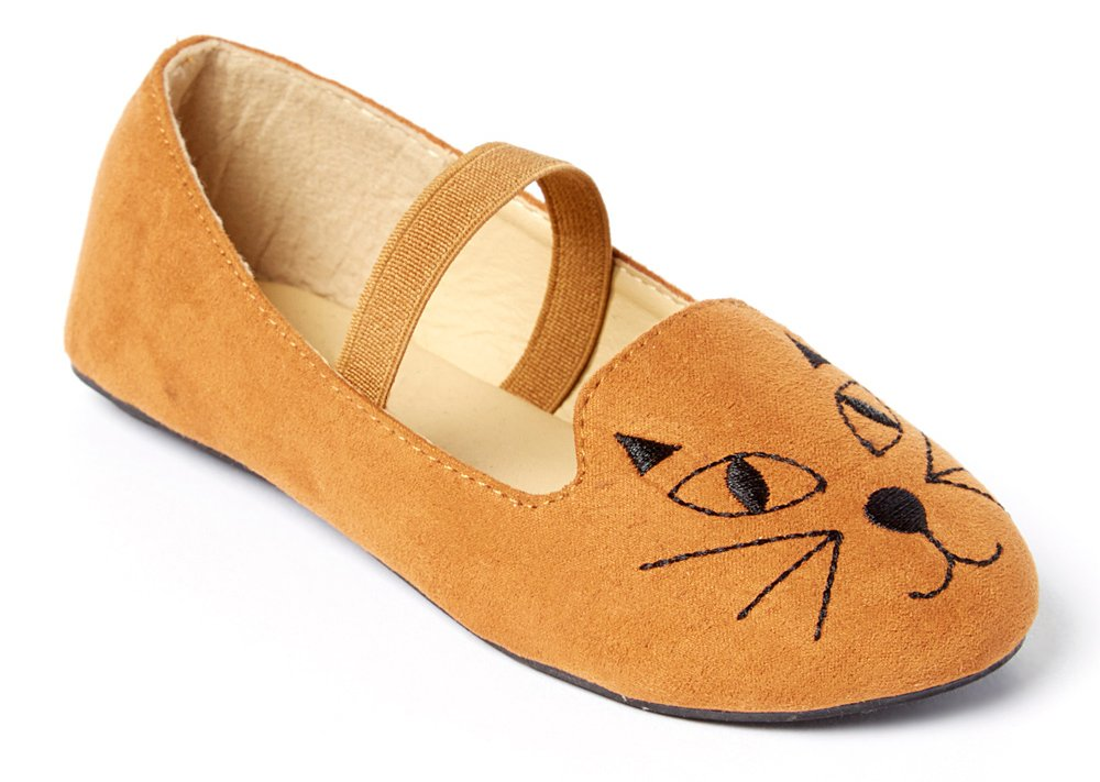 Simply Petals Girl's Meow Kitty Cat Face Slip On Critter Ballet Flat (5 Toddler M, Cognac)