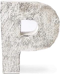 Kaizen Casa Vintage, Rustic Mango Wood Alphabet Letter P, Wall Decor, Wall Sculptures, Home, Office, Party Décor.