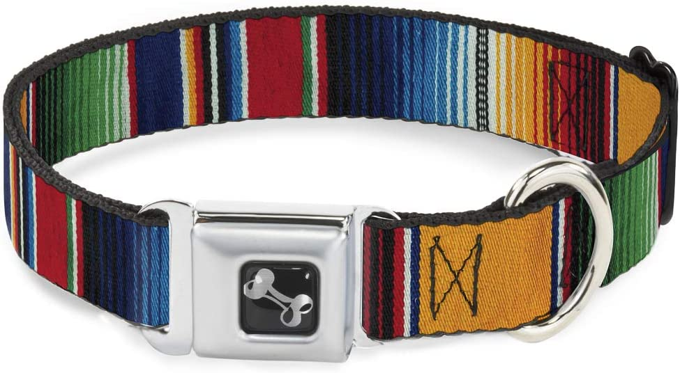 Buckle-Down Dog Collar Seatbelt Buckle Zarape2 Vertical Multi Color Stripe Available in Adjustable Sizes for Small Medium Large Dogs