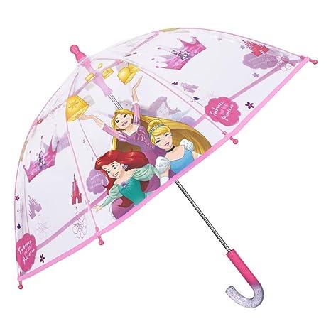 Paraguas Transparente Princesas Disney Niña - Paraguas Infantil Burbuja Cenicienta Ariel Rapunzel - Antiviento Seguro de Fibra de Vidrio - Manual - ...